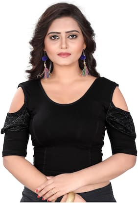 BKD Fashion Readymade Lycra Cotton Blouse For Women Black color