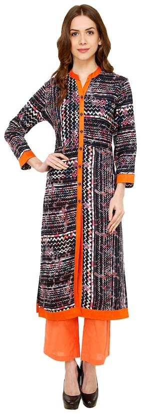 Luxury Living Black Asymmetrical Print Kurti