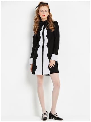 Sisjuly Black Back Zipper Tie Neck Women's Long Sleeve Dress
