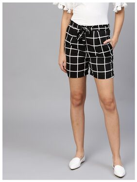 AASI Women Checked Shorts - Black