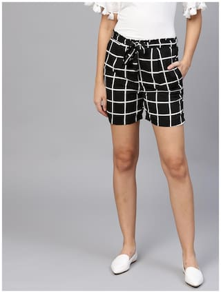 AASI- HOUSE OF NAYO Women Checked Regular shorts - Black