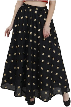 AADRIKA.COM FASHION WORLD Solid Flared skirt Maxi Skirt - Black