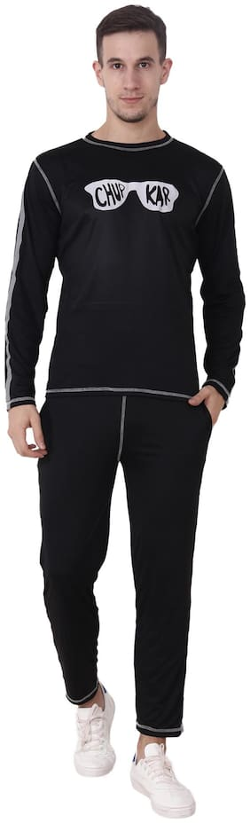 CHAUHAN Men Viscose Track Suit - Black
