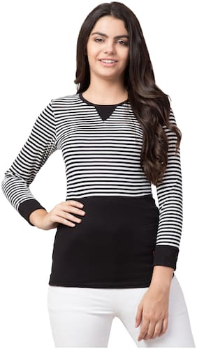 Black Color Striped Trendy Women's T-Shirt