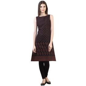 Black Cotton Medium Aline Kurta