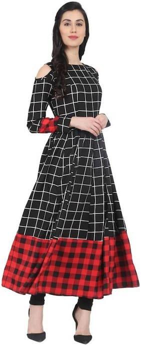 Women Checkered Fit and Flare Kurta