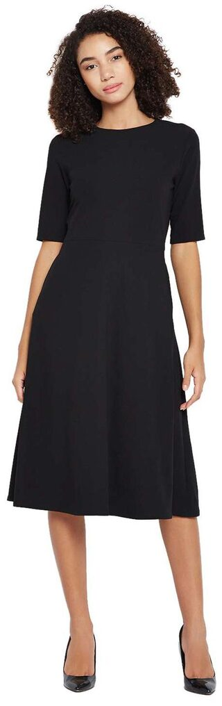 Buy Black Fit And Flare Midi Dress Online At Low Prices In India