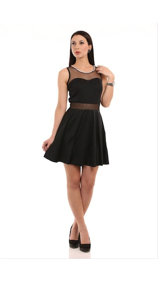 Texco Black Fit And Flare Dress