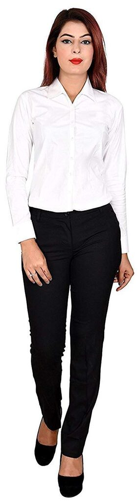 SATPAL Women Slim Fit Mid Rise Solid Pants - Black