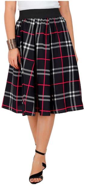 FabnFab Checked A-line Skirt Midi Skirt - Black