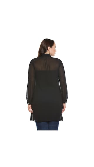 With Long Sequins Georgette Shirt Black Work wvq1T1