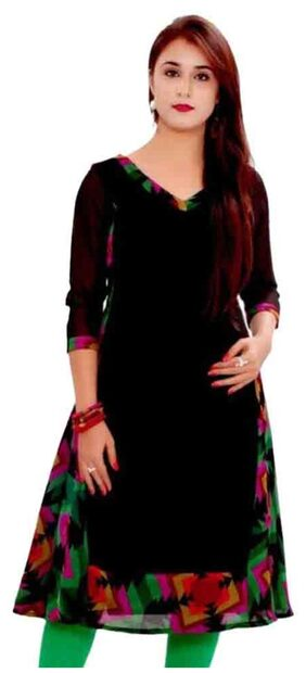 Urbane Woman Black Georgette Casual Regular Kurti