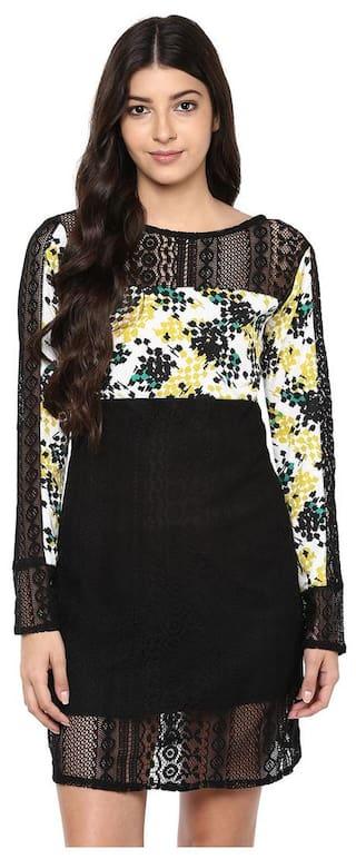 Black Lace and Print Dress