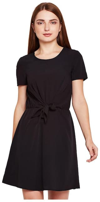 OXOLLOXO Black Solid A-line dress
