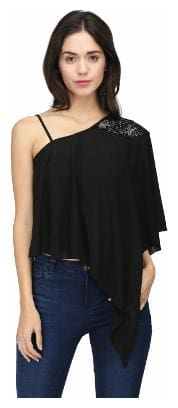 Eavan Women Blended Solid - A-line top Black