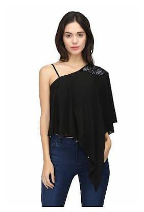 Eavan Women Blended Solid - A Line Top Black