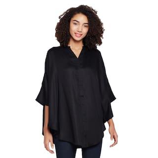 Black oversized button down shirt