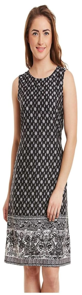 Black Poly Crepe Printed Dress