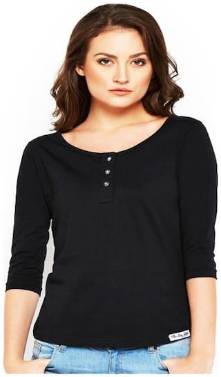Sundish Women Black Slim fit Boat neck Polyester T shirt