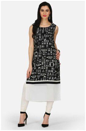 Black & White Printed Kurta
