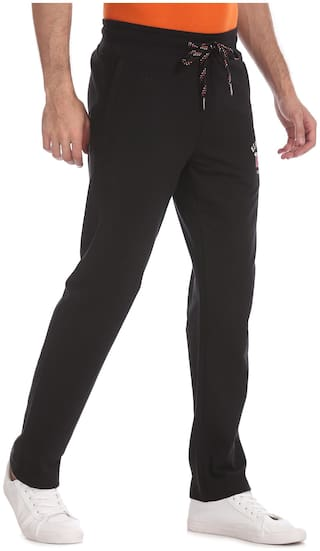 U.S. Polo Assn. Men Black Solid Regular fit Track pants