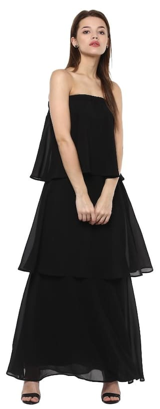 a5c69dd41 Buy Femella Black Strapless Tiered Maxi Dress Online at Low Prices ...