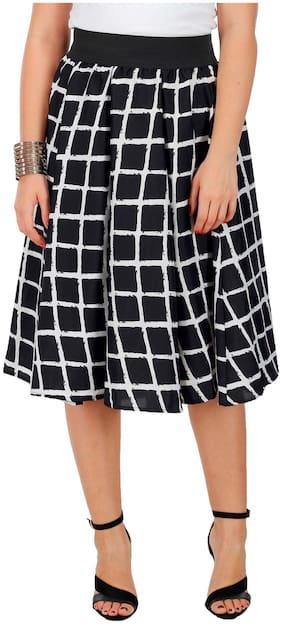 FabnFab Checked A-line skirt Midi Skirt - Black