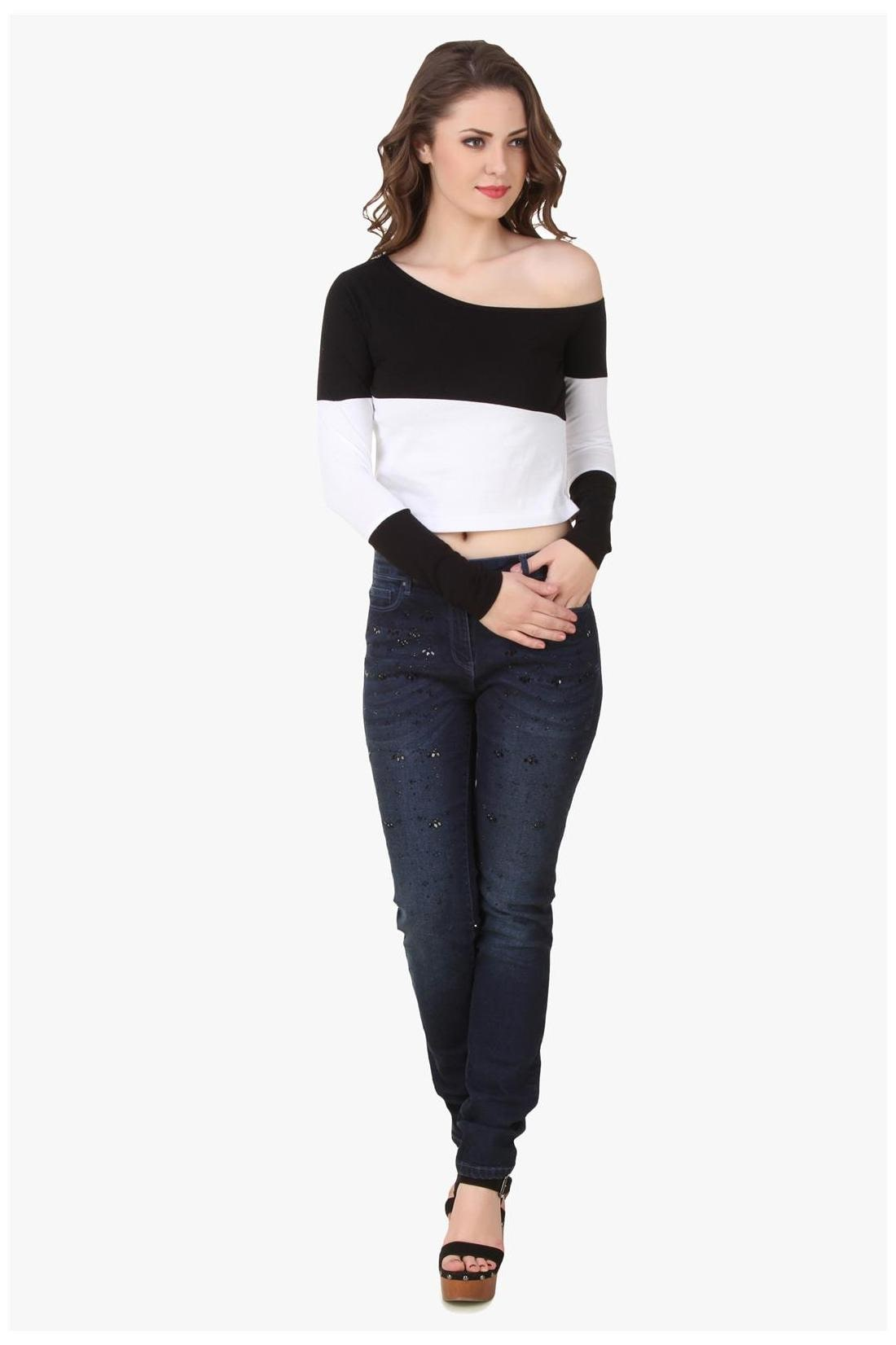 65ba1e7a5a2bc Buy Texco Black   White One Off Shoulder Crop Top Online at Low Prices in  India - Paytmmall.com