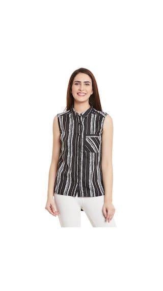 Black White Stripe Print Shirt