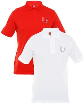 Blacksmith Men White Regular fit Cotton Blend Mandarin collar T-Shirt - Pack Of 2