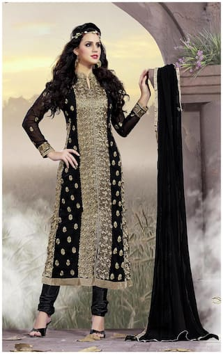 Blissta Black & Gold Georgette Unstitched Embroidered Dress Material