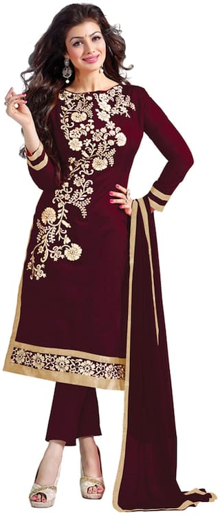 Blissta Brown Chanderi Dress Material