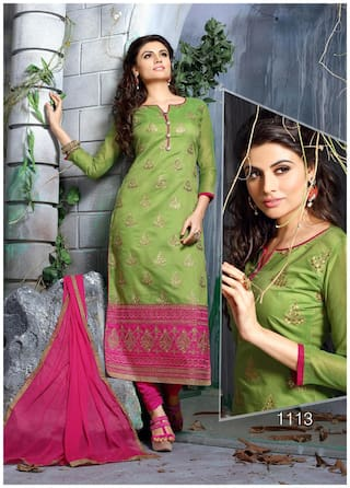 Blissta Green Chanderi Embroidered Party Wear Dress Material