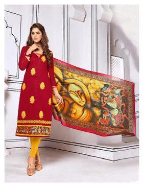 Blissta Maroon Embroidered Slub Cotton Straight Suit Dress Material