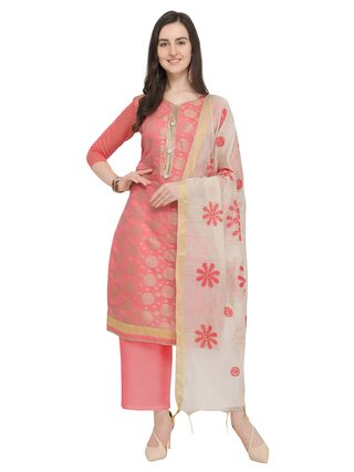 BLISSTA Blended Printed Dress Material - Peach