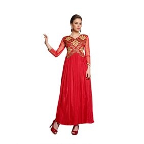 Blissta Red Net Semi Stitched Ethnic Gown