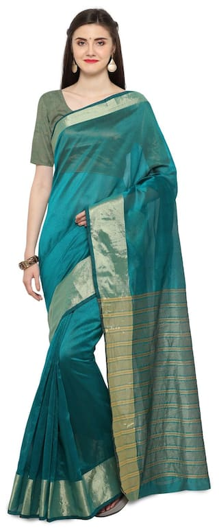 963a6e7aa Buy Blissta Turquoise Cotton Plain Saree Online at Low Prices in ...