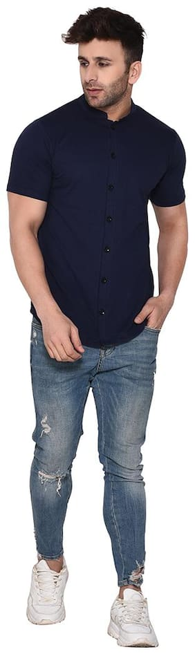 BLISSTONE Men Blue Solid Slim Fit Casual Shirt