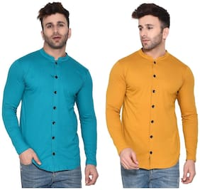 BLISSTONE Cotton Blend Solid Turquoise and Golden Color Shirt For Men (Pack Of 2)