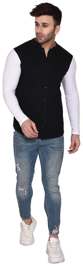 BLISSTONE Men Black Solid Slim Fit Casual Shirt