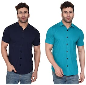 BLISSTONE Cotton Blend Solid Blue and Turquoise Color Shirt For Men (Pack Of 2)