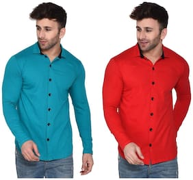 BLISSTONE Cotton Blend Solid Turquoise and Red Color Shirt For Men (Pack Of 2)