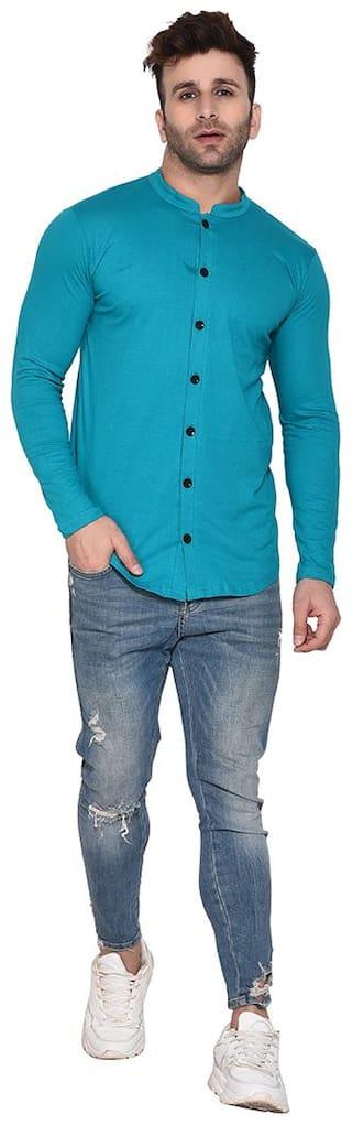 BLISSTONE Cotton Blend Men shirt Turquoise