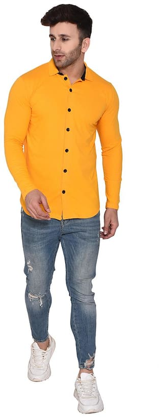 BLISSTONE Men Yellow Solid Slim Fit Casual Shirt