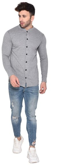 BLISSTONE Men Grey Solid Slim Fit Casual Shirt