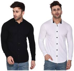 BLISSTONE Men Black & White Solid Regular Fit Casual Shirt