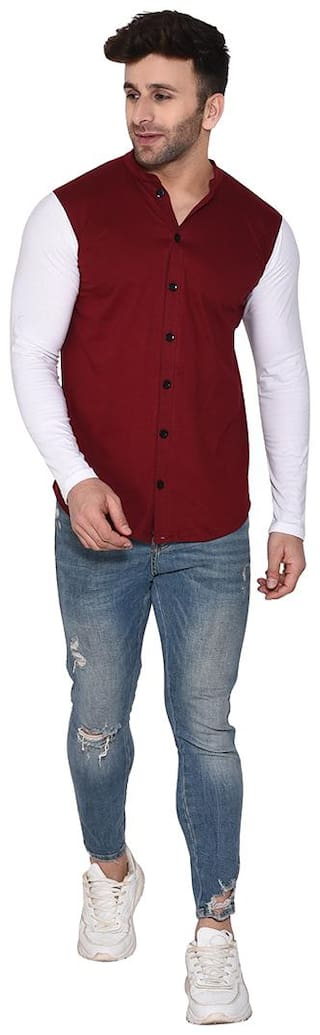 BLISSTONE Men Maroon Solid Slim Fit Casual Shirt