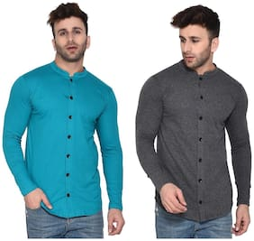 BLISSTONE Cotton Blend Solid Turquoise and Grey Color Shirt For Men (Pack Of 2)