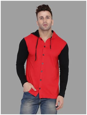 BLISSTONE Men Red & Black Colorblocked Slim Fit Casual Shirt