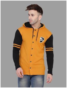 BLISSTONE Men Cotton Blend Colorblocked Mustard & Black  Casual Shirt